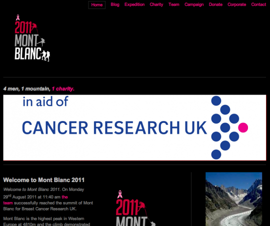 The Mont Blanc 2011 team climped to the peak and help raised over £6,000 for Breast Cancer Research UK